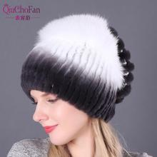 Real Rex Rabbit Fur With Fox Fur Knitted Beanies Women Winter Hats Casual Female Caps Warm Natural Fur Lady Hat недорго, оригинальная цена