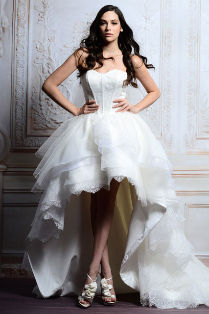 IM050 New Arrival High Low Wedding Dress 2017 Bridal Gown Tiered White Sexy Backless Bride