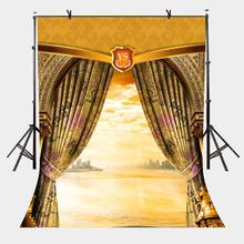 5x7ft Window Facing the Sea Photography Background Seaside Beach Pattern Photo Backdrop Studio Props