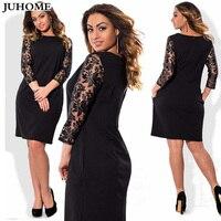Office Women Vintage Summer Dress Solid Plus Size Dresses For Women 4xl 5xl 6xl Formal Stretch