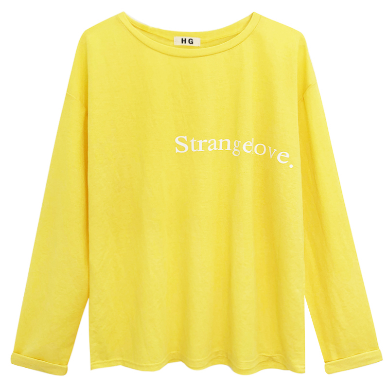 2b Macaron color versatile loose simple college round neck letter printed long sleeved women s T