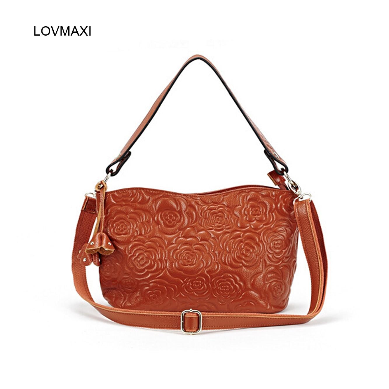 ФОТО LOVMAXI Guaranteed 100% Genuine Leather Women Bags Floral Embossed Ladies Handbag Lacquered Cross Body Bag Shoulder Tote Fashion