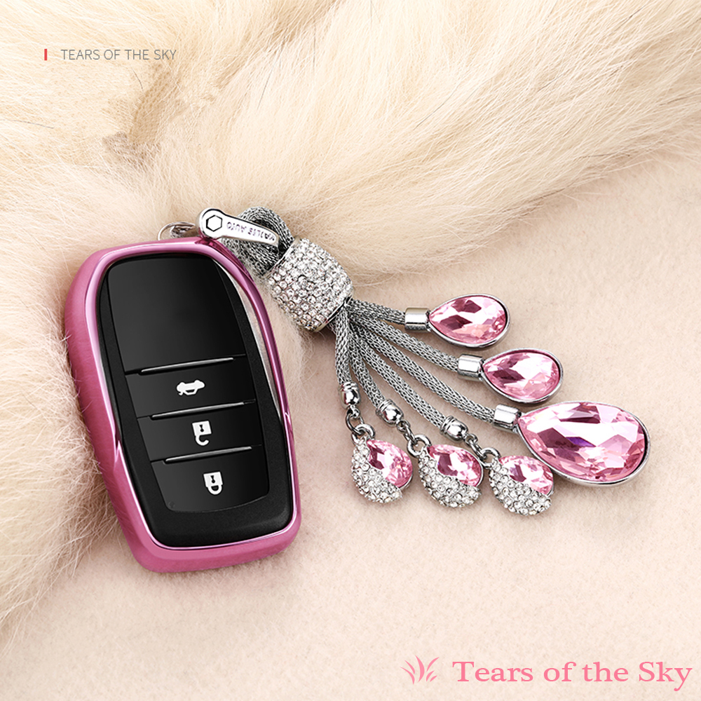 Artificial Crystal Pendant TPU Soft cover key shell case For Toyota Highlander Land Cruiser Riez RAV4 Camry Prado Crown Corolla