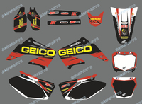 DST0015 GEICO TEAM GRAPHICS BACKGROUNDS Kits FOR HONDA CR125 CR250 2002 2003 2004 2005 2006