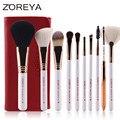 Zoreya marca 10 unids pinceles de maquillaje de oro rosa cepillo cosmético cepillo de base de sombra de ojos delineador de labios kits de cepillo con bolsa de cuero de la pu