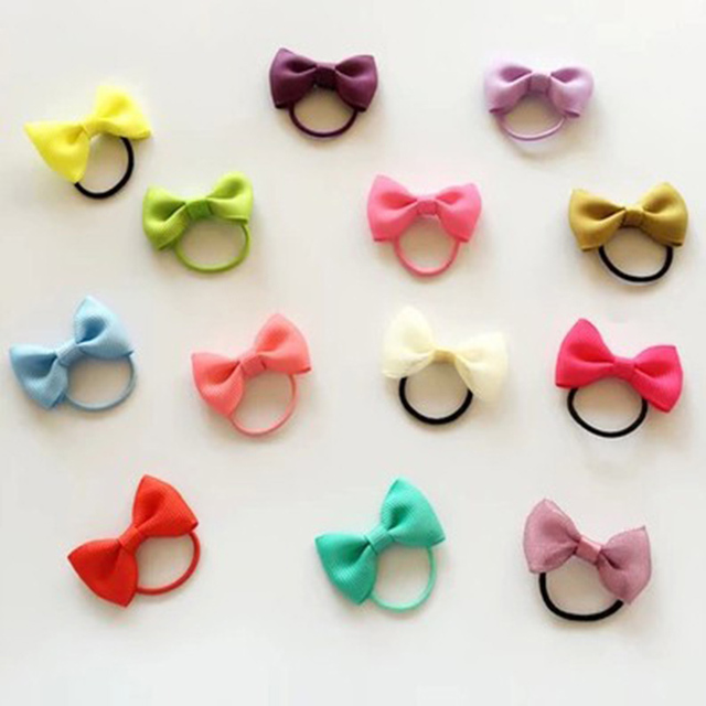 10Pcs/Lot Kids Hair Accessories Little Girl Hair Grosgrain Ribbon Bow With Elastic Hair Bands Mini Bow Hair Ropes