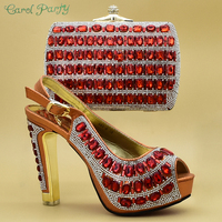 2019 New African Fashion Orange Color Shoes and Bag Set Decorated with Rhinestone African Nigerian Shoes and Bag Set for ZS 02