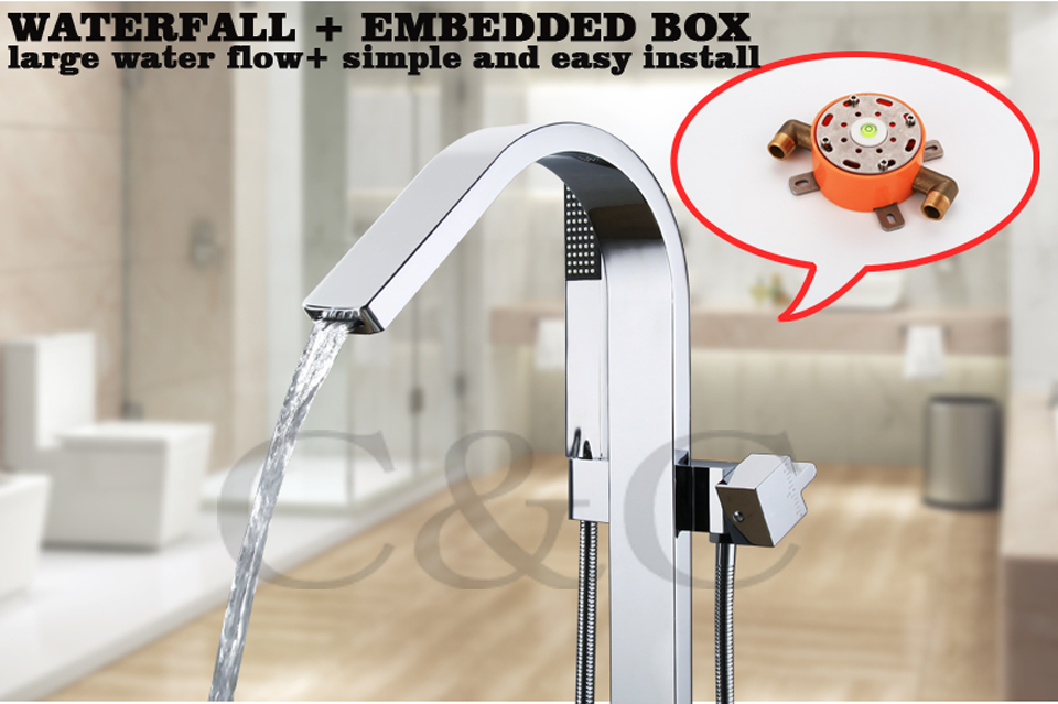 Bath Floor Standing Bath Tub Waterfall Faucet Mixer Set Large Water Flow Easy Installation With Embedded