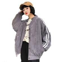 Полосатая куртка, модная, негабаритная, повседневная, для женщин, Harajuku, базовые куртки и пальто, для девушек, Осень-зима, милая, кавайная верхняя одежда