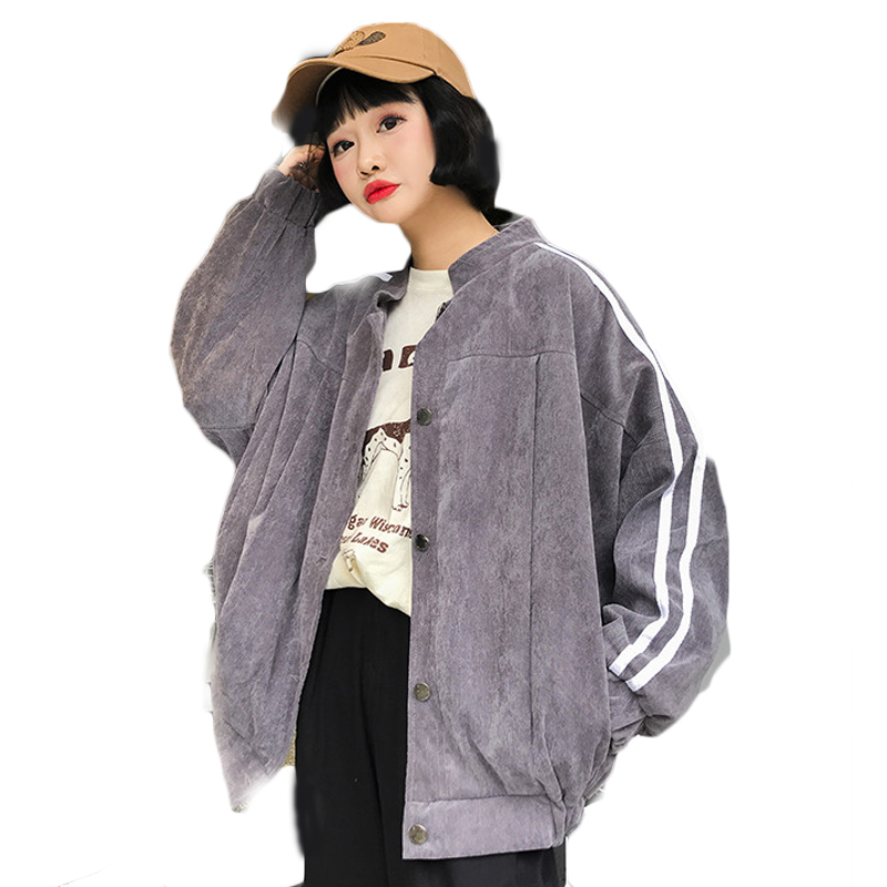Striped Jacket Fashion Oversize Casual Women Harajuku Basic Jackets And Coats Ladies Autumn Winter Cute Kawaii Outwear 2JCKL04