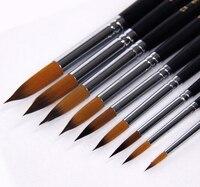 New 2014 9 Pointed Nylon Hair Brush Gouache Painting Kit Art Special Pen Hook Line Brush