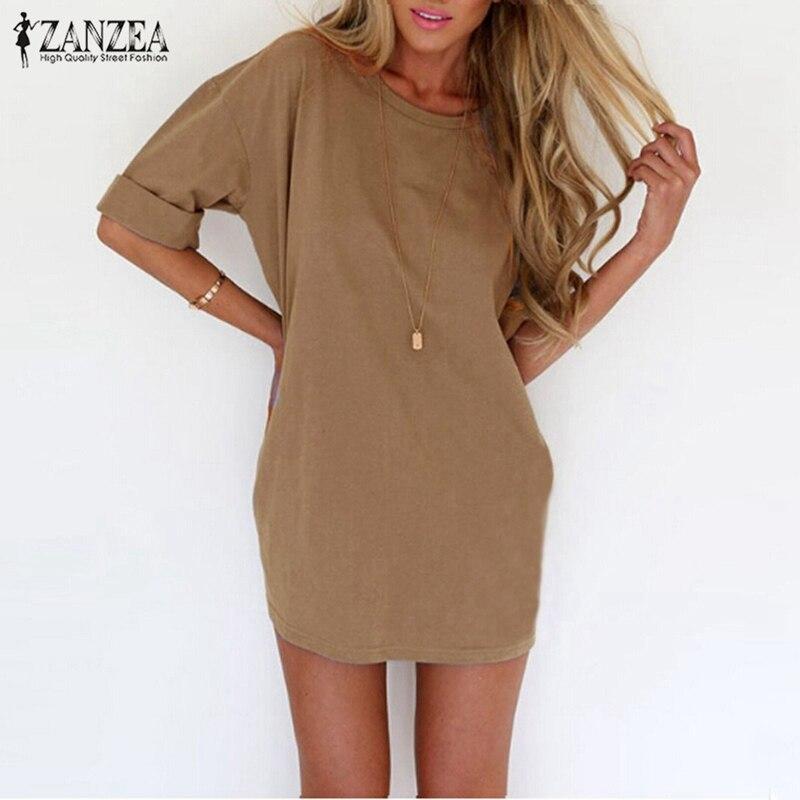 Zanzea 2017 verano estilo moda loose women casual dress sexy ladies color sólido