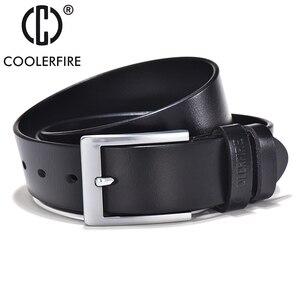 Image 4 - COOLERFIRE Belts For Men Black And Brown Top Full Grain Leather Big Silver Buckle Dress Belt JTC001
