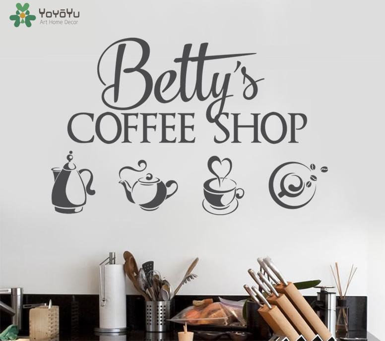 Modern Coffee Shop Design Wall Decal Personalized Name
