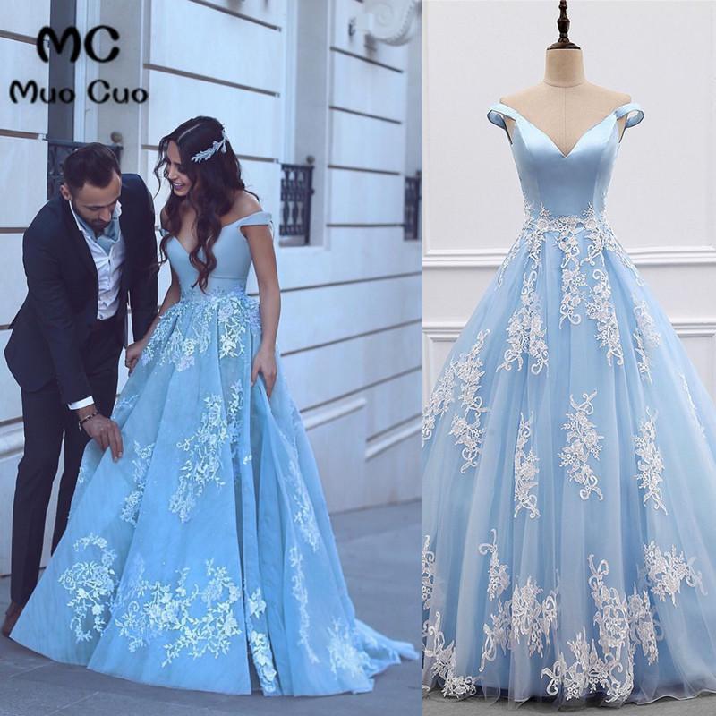 2018 Vintage Off Shoulder   Prom     Dresses   Long V-Neck vestido de festa Appliques Short Sleeve Floor Length Women's   Prom     Dress