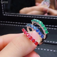 Fashion simple thin Row Natural green Emerald ring S925 silver natural ruby sapphire ring girl women party gift fine jewelry