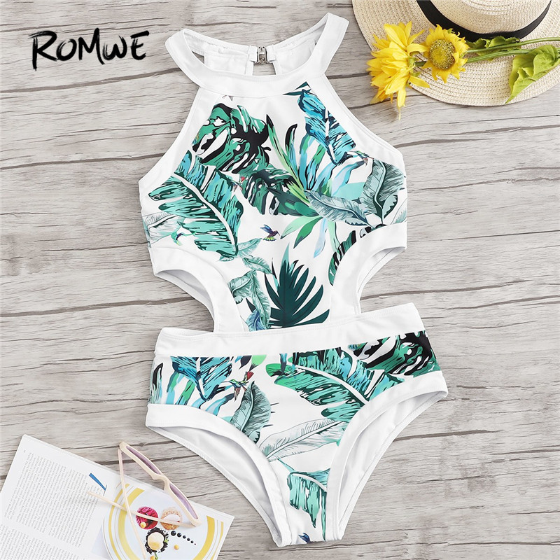 Romwe Beachwear Swimsuit Bathing-Suits Monokinis Sport One-Piece Women Summer Jungle-Leaf
