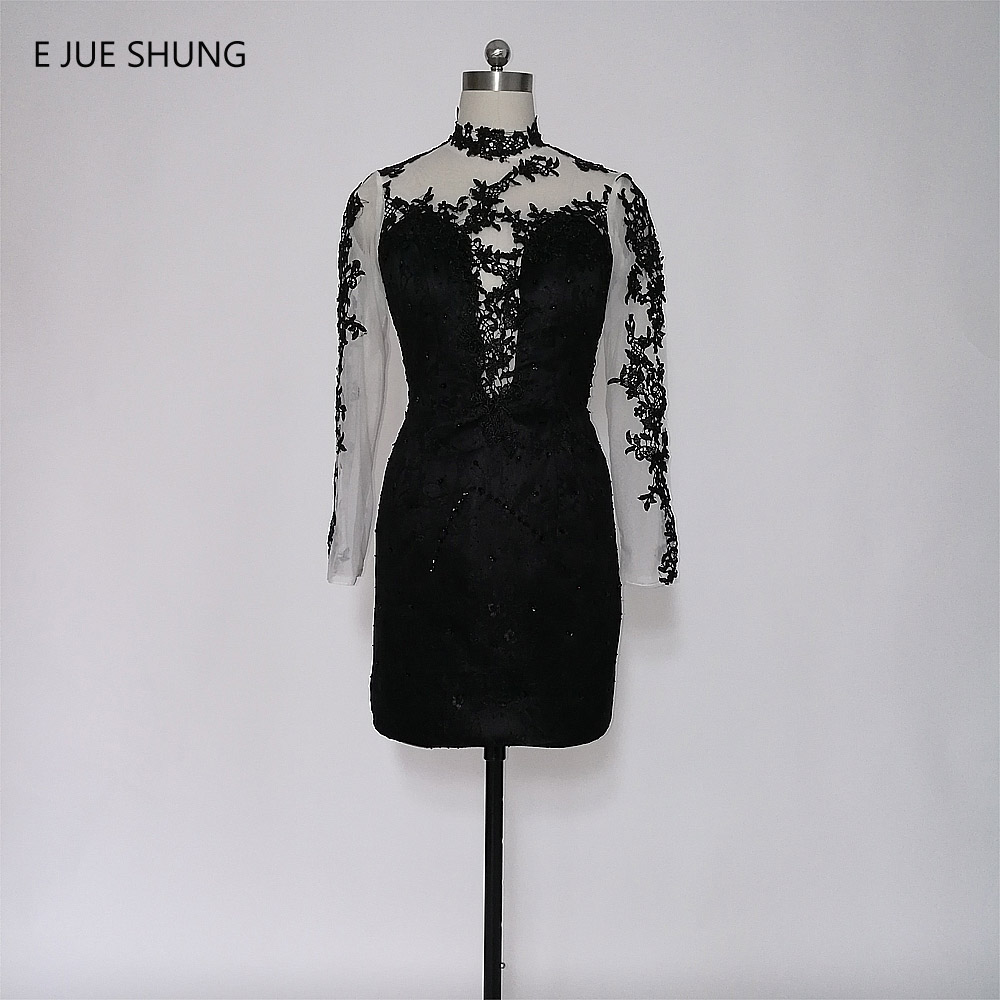 E JUE SHUNG Black Lace Appliques Short   Cocktail     Dresses   Sheer See Through Backless Long Sleeves Short Prom Prom   Dresses