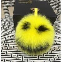 Real 15cm Fox Fur Ball Pom pom Fluffy Keychain Cute Little Monster Emoji Keychain Fur Pompons Key Chains Charm Women Bag Keyring