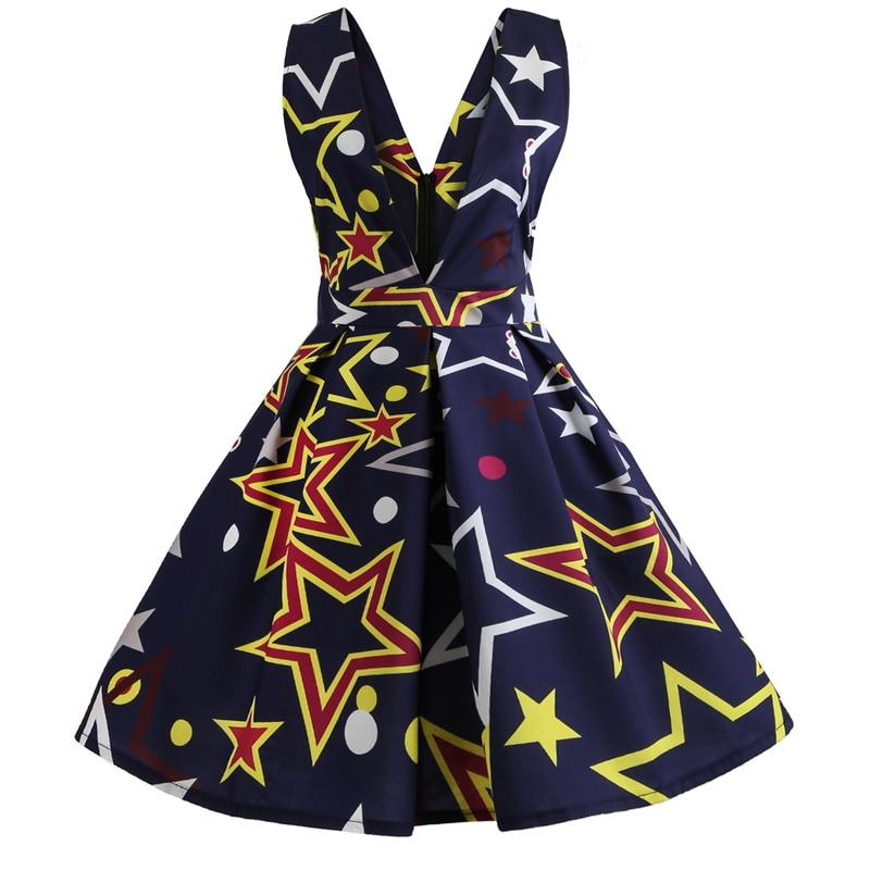 Kophia V Neck Print Backless Sexy Short Dress Women Sleeveless Summer Beach Dress 2018 Elegant Pleated A-Line Mini Dress Vestido