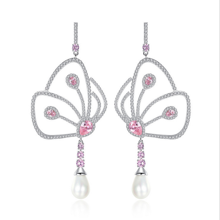New design Luxury AAA cubic zirconia pave setting butterfly wings drop earrings unique dress party accessaries,E0005