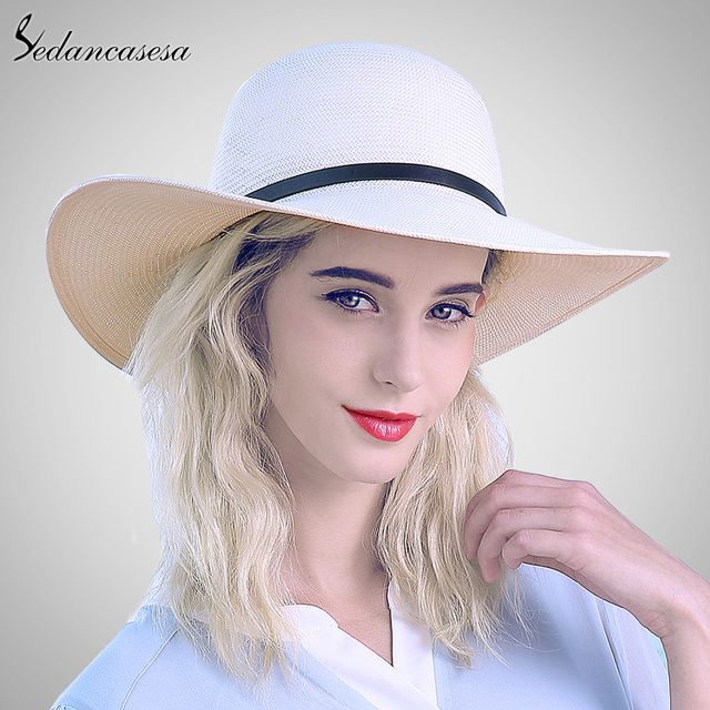 Sedancasesa white sun hats for women panama straw hat summer Large brim  floppy beach hat wide brim sun protect holiday SW012519 65ec09ca65b