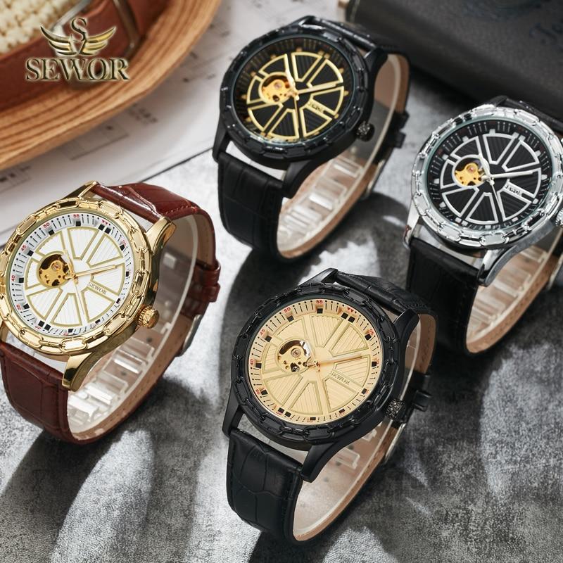 SEWOR 2019 TOP LUXURY MARKA MODA Chalet jarzma kształt GLOD BLACK - Męskie zegarki - Zdjęcie 4