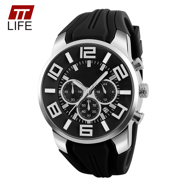 TTLIFE Brand Sport Watches Mens Stopwatch Three Time Dial Display Men Watch Silicone Watchband Male Wristwatch relogio masculino