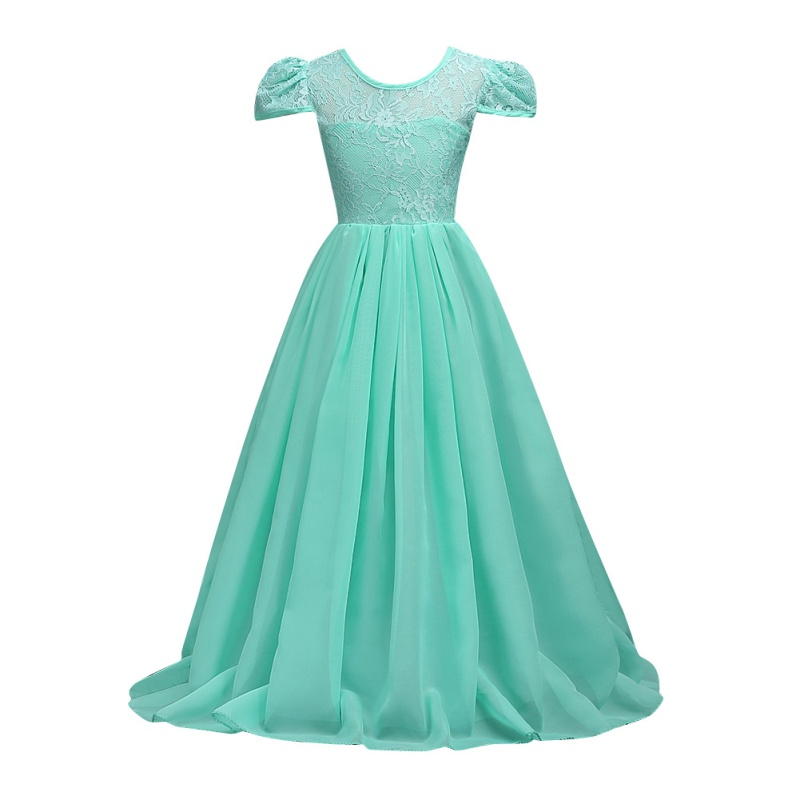 Baby Princess Girls Lace Flower Long Dress Party Wedding Prom Pageant Gown Dresses Chiffon Solid Color Short Sleeve Dress 6-15Y new arrival girl ball gown princess dress pink bow short sleeve pageant flower girls dresses long for children prom gown ad 1671