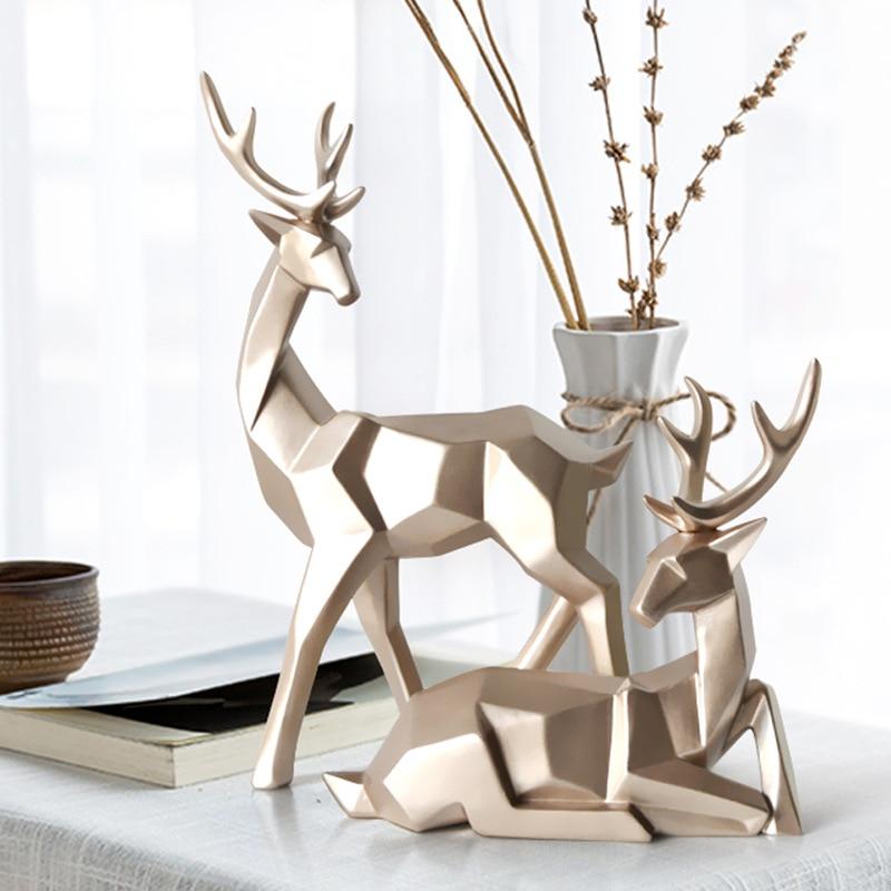 1 Set Gold Color Deer Figurine Miniatures Garden European Style Resin Deers Decoration Living Room Bedroom