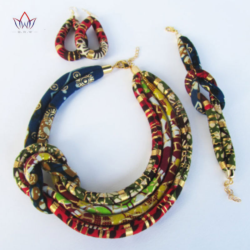 BRW 2017 Afrocentric Necklace Asymmetric Necklace Ankara Fabric Set Side Knot Necklace,Bracelet and Earrings 3 Pieces WYB203