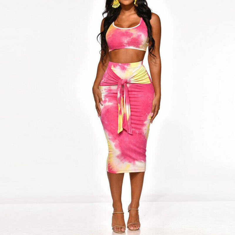Crop Top and Skirt Two Pieces Dress Set Club Summer Outfit Sexy Clothes Women Set