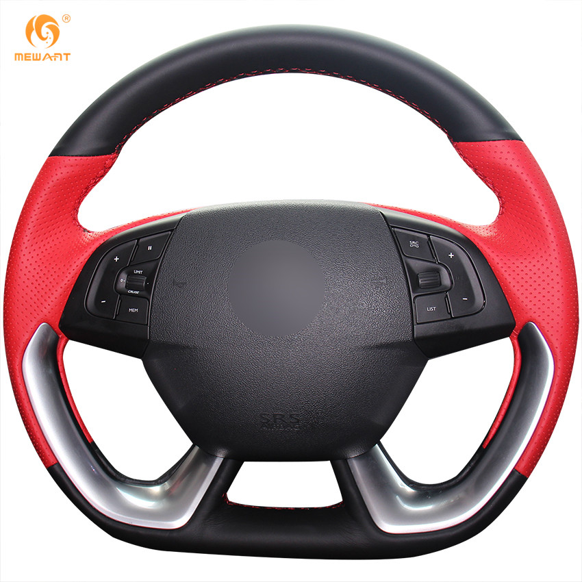 MEWANT Black Red Genuine Leather Car Steering Wheel Cover for Citroen DS5 DS 5 DS4S DS 4S runba ice silk steering wheel cover sets with red thread