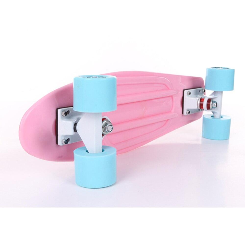"""Prix pour Pastel 22 """"Planche À Roulettes Mini Cruiser Retro Skate Bord Complet En Plastique Longboard Fille Planche À Roulettes Prêt à Rouler"""
