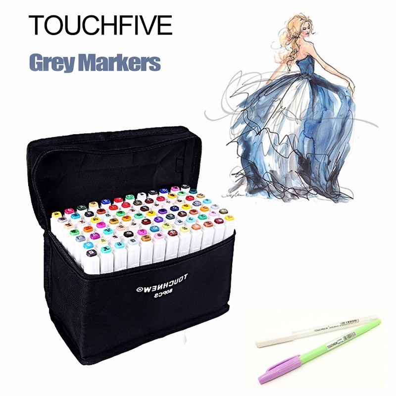 FINECOLOUR 36 48 60 72 Colors Artist Double Headed Manga Brush Markers Alcohol Based Sketch Paint Art Marker Pen Set touchnew 60 colors artist dual head sketch markers for manga marker school drawing marker pen design supplies 5type