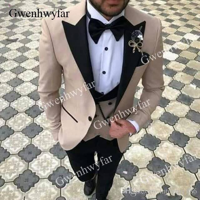 Gwenhwyfar Groom Suits Costume Tuxedo Smoking-Suit Slim-Fit Beige New-Design Brand Elegant