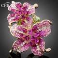 Austrian Crystal Gold Plated Accessories Brand Jewelry Promotion Elegant Imitation Diamond Classic Flower Rings For Women