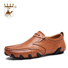 BACKCAMEL New Leather Peas Shoes Mens Business Lazy Driving Breathble Wear-resistant Casual Comfort Footwear Size 38-44