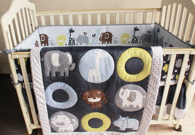 Promotion! 7pcs Embroidery Applique baby bedding crib set quilt ,bumper ,include (bumpers+duvet+bed cover+bed skirt)