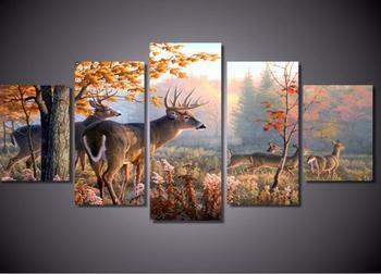 5 piezas, bordado de diamantes 5D DIY diamante pintura ciervos, bosque, hojas, pintura de diamante punto de cruz escénico, patrón de diamante