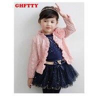 Vêtements pour enfants 2017 printemps bébé filles vêtements ensembles 3 pièces costume filles fleur manteau + bleu t-shirt + tutu jupe filles vêtements