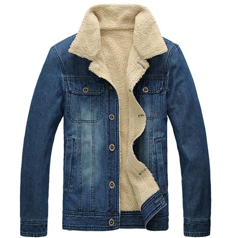 Winter Denim Jacket Men Korean Plus Velvet Casual Slim Fit Vintage ...