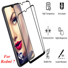 2 Pack Redmi 7 Screen Protector Tempered Glass for Xiaomi glass full cover Black