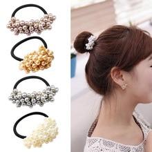 2019 New Women Fashion Vitange Rhinestone Crystal Pearl Hair Band hair accessories for women Girls Rope Elastic Ponytail Holder