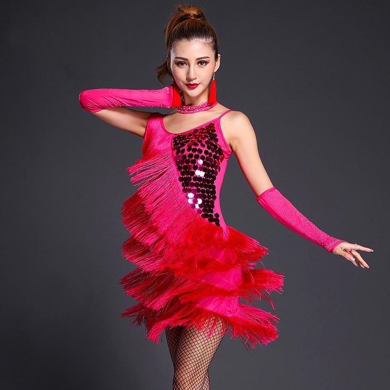 women adult fringe gold sequin red latin dance costumes salsa dancewear dance costume dresses ballroom competition dresses tango