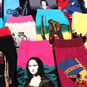 Лидер продаж, Прямая поставка, осенне-зимние женские носки в стиле ретро, новая серия масляной живописи для мужчин