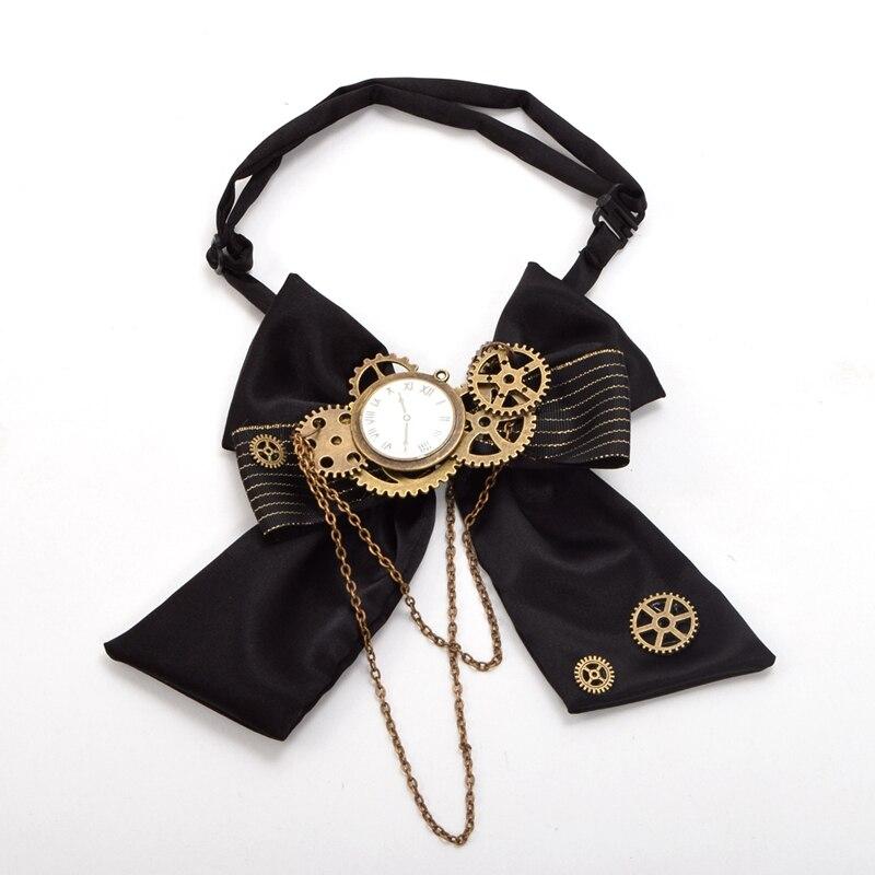 Vintage Victorian Steampunk Black Steampunk Bow Tie Lolita Punk Gear Bow-tie Bow-knot Unisex Accessory