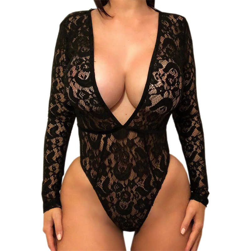 060ad4b384fd Deep V Neck Sexy Women Lace Body Tops Autumn Long Sleeve Bodysuit Slim Club  White Rompers