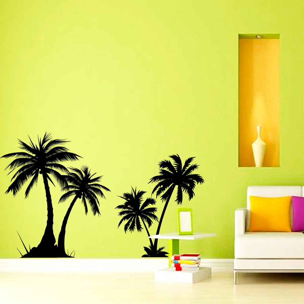 ZOOYOO Palm Trees Wall Sticker Vinyl Wall Decals Living Room Bedroom Home Decor Wallpaper Decoration Murals