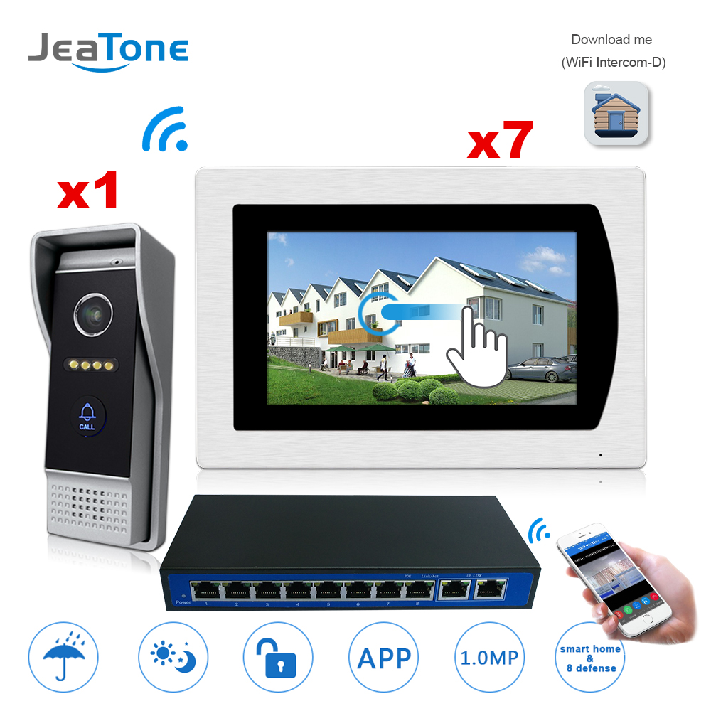 7&#8221; Touch Screen WIFI <font><b>IP</b></font> Video Door <font><b>Phone</b></font> Video Intercom Villa Building 1-7 Access Control System Motion Detection + POE <font><b>Switch</b></font>